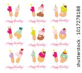 birthday cards set. festive... | Shutterstock .eps vector #1017278188