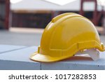 close up yellow safety helmet... | Shutterstock . vector #1017282853