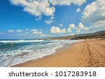 beautiful wild beach with clear ...   Shutterstock . vector #1017283918