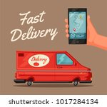 delivery service by van. car... | Shutterstock .eps vector #1017284134