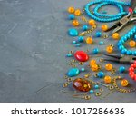tools  beads  accessories for... | Shutterstock . vector #1017286636
