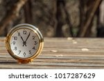 traditional clock with wood... | Shutterstock . vector #1017287629