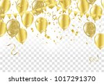gold balloons  confetti and... | Shutterstock .eps vector #1017291370