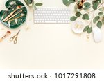 flat lay home office desk.... | Shutterstock . vector #1017291808