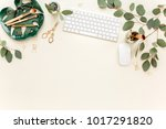 flat lay home office desk.... | Shutterstock . vector #1017291820