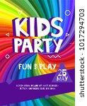 kids party letter sign poster.... | Shutterstock .eps vector #1017294703