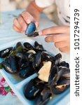 mussels eat in a farm   Shutterstock . vector #1017294739