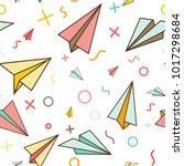 memphis style paper planes... | Shutterstock .eps vector #1017298684
