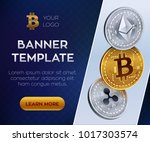 crypto currency editable banner ... | Shutterstock .eps vector #1017303574