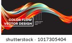 Modern colorful flow poster. Wave Liquid shape in black color background. Art design for your design project. Vector illustration EPS10 | Shutterstock vector #1017305404