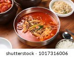 delicious hot spicy meat stew...   Shutterstock . vector #1017316006