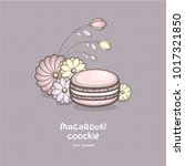 cute pink macaron with... | Shutterstock .eps vector #1017321850