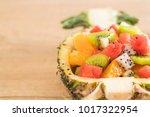 mix sliced fruits  orange ... | Shutterstock . vector #1017322954