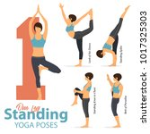 a set of yoga postures female... | Shutterstock .eps vector #1017325303