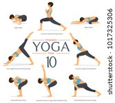 set of 8 yoga poses in flat... | Shutterstock .eps vector #1017325306