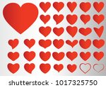 red heart vector set icon... | Shutterstock .eps vector #1017325750