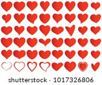 red heart vector set icon... | Shutterstock .eps vector #1017326806