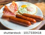 set of american breakfast with... | Shutterstock . vector #1017330418