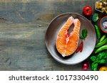 Flat Lay Of Fresh Raw Salmon...