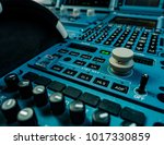 airplane control panel with lot ... | Shutterstock . vector #1017330859