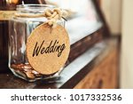 vintage retro glass jar with... | Shutterstock . vector #1017332536