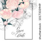 save the date cards with...   Shutterstock .eps vector #1017333949