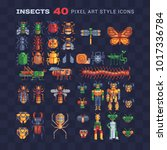 insects pixel art icon set. bee ... | Shutterstock .eps vector #1017336784