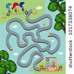 maze game template with kids... | Shutterstock .eps vector #1017338074