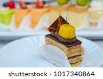 cake cut into pieces on the... | Shutterstock . vector #1017340864
