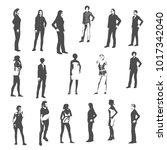 fashion women silhouettes... | Shutterstock .eps vector #1017342040