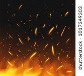 fire sparks flying. firestorm... | Shutterstock .eps vector #1017349303