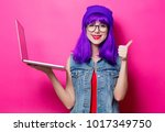 portrait of young style hipster ... | Shutterstock . vector #1017349750