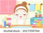 beauty cartoon skin care woman... | Shutterstock .eps vector #1017350764