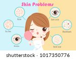 woman with skin problem on the... | Shutterstock .eps vector #1017350776