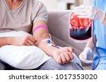 patient getting blood...   Shutterstock . vector #1017353020