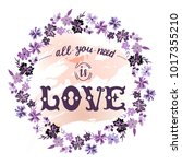 all you need is love quote... | Shutterstock .eps vector #1017355210