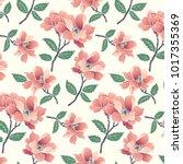 floral seamless pattern... | Shutterstock .eps vector #1017355369