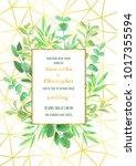 geometric gold pattern  herb ... | Shutterstock .eps vector #1017355594