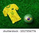 top view of soccer ball in... | Shutterstock .eps vector #1017356776