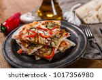 sliced pizza with chicken ... | Shutterstock . vector #1017356980