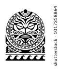 shoulder tattoo with sun maori... | Shutterstock .eps vector #1017358864