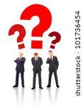 Three miniature businessman thinking - teamwork concept. - stock photo