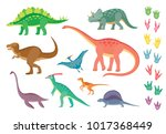 set of colorful dinosaurs and... | Shutterstock .eps vector #1017368449