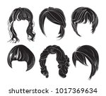 hair silhouettes set  woman... | Shutterstock .eps vector #1017369634