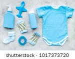 blue set for newborn boy. baby... | Shutterstock . vector #1017373720
