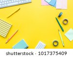scattered stationery near...   Shutterstock . vector #1017375409