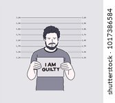 a criminal who takes a mug shot.... | Shutterstock .eps vector #1017386584