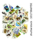 a collage of postage stamps on... | Shutterstock . vector #1017386950
