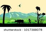 chinese asian farm silhouette... | Shutterstock .eps vector #1017388078