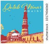 qutb minar new delhi | Shutterstock .eps vector #1017406060